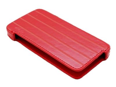 ТВЪРД КОЖЕН КАЛЪФ ЗА iPhone 4G / 4GS - RED WITH STRIPES