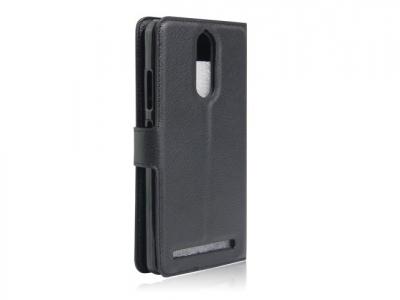 Кожен калъф тефтер за Lenovo K5 Note - Черен
