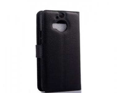 КОЖЕН КАЛЪФ ТЕФТЕР СТРАНИЧНО ОТВАРЯНЕ ЗА  HTC One M9 Plus - Black
