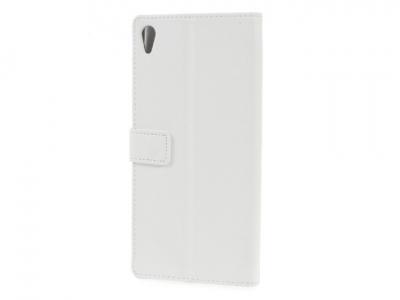 Кожен калъф тефтер за Sony Xperia XA Ultra - Бял