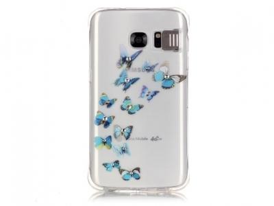 Ултра тънък силиконов протектор за Samsung Galaxy S7 2016 G930 - Прозрачен - Текстура -Сини пеперуди