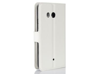 Калъф Тефтер странично отваряне за HTC U11 Бял