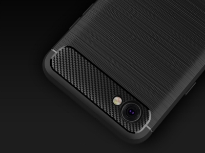 Силиконов Калъф Carbon Fibre Brushed за  LG Q6  / Q6 Plus, Черен