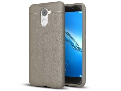 Силиконов гръб Litchi за  Huawei Y7 Prime / Enjoy 7 Plus, Сив