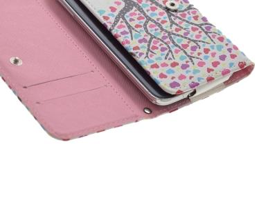 Универсален калъф тефтер за iPhone 7 6s 6 / Samsung S6 ръб, размери 144 х 75 мм - Cartoon Hearts Tree