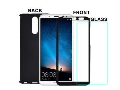 360 градуса пластмасов протектор + Стъклен протектор - Huawei Mate 10 Lite , Черен