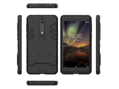 Удароустойчив гръб с Поставка за Nokia 6 2018, Черен