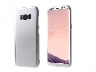 360 градуса пластмасов калъф със защитно фолио за Samsung Galaxy S8 2017 G950, Сребрист