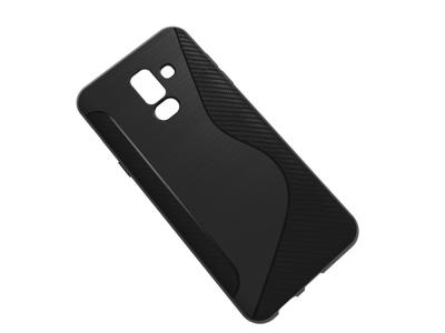 Силиконов Гръб Carbon за Samsung Galaxy A6 Plus 2018, Черен