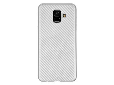 Силиконов гръб Carbon Fibre за Samsung Galaxy A6 2018, Сребрист