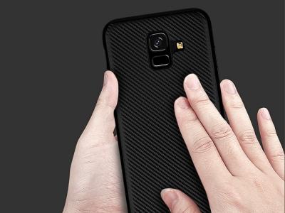 Силиконов гръб Carbon Fibre за Samsung Galaxy A6 2018, Черен