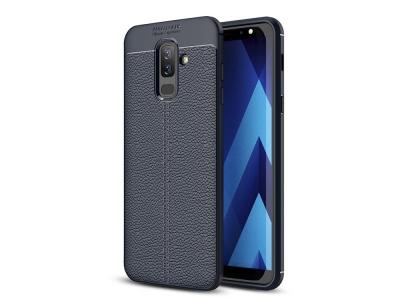 Силиконов гръб Litchi за Samsung Galaxy A6 PLUS 2018, Тъмно син