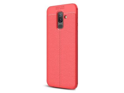 Силиконов гръб Litchi за Samsung Galaxy A6 PLUS 2018, Червен