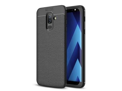 Силиконов гръб Litchi за Samsung Galaxy A6 PLUS 2018, Черен