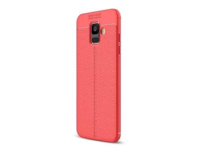 Силиконов гръб Litchi за Samsung Galaxy A6 2018, Червен