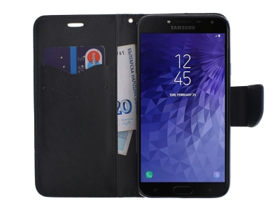Калъф Тефтер FANCY за Samsung Galaxy J4 2018 J400, Черен