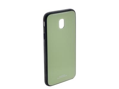 Стъклен гръб със силиконова лайстна Glass за Samsung Galaxy J3 2017 J330, Светло зелен