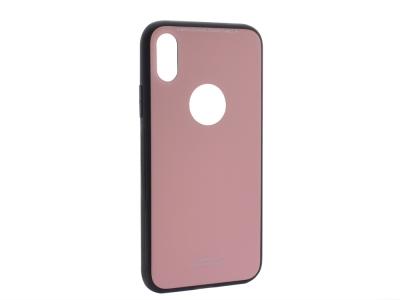 Стъклен гръб със силиконова лайстна Glass за iPhone X / XS, Розов