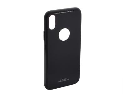 Стъклен гръб със силиконова лайстна Glass за  iPhone X / XS, Черен