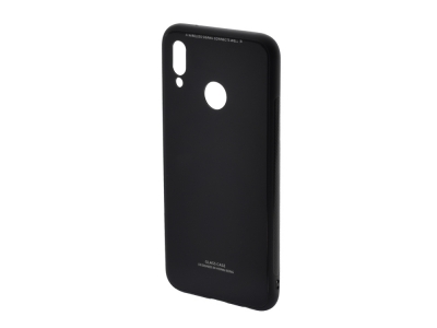 Стъклен гръб със силиконова лайстна Glass за Huawei P20 Lite, Черен