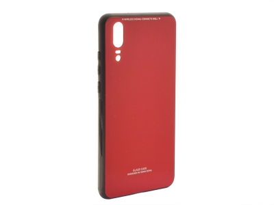 Стъклен гръб със силиконова лайстна Glass за Huawei P20, Червен