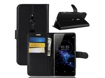 Калъф тефтер Litchi за Sony Xperia XZ3 , Черен