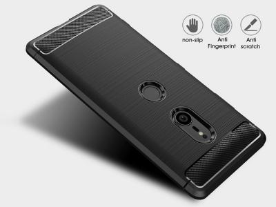 Силиконов гръб Carbon за Sony Xperia XZ3, Черен
