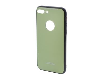 Стъклен гръб със силиконова лайстна Glass за iPhone 7 Plus / 8 Plus, Зелен