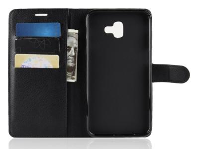 Калъф тефтер Litchi за Samsung Galaxy J6 Plus, Черен