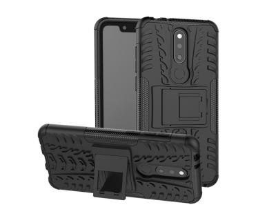 Удароустойчив гръб с поставка Hybrid за Nokia X5 / 5.1 Plus , Черен