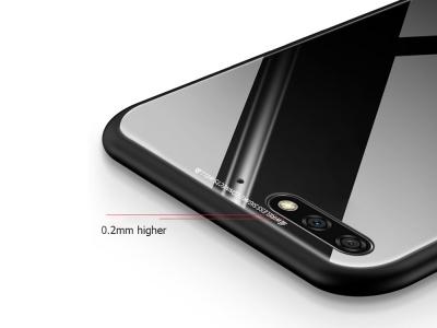 Стъклен гръб със силиконова лайстна Glass за Huawei Y6 2018, Черен