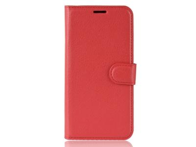 Калъф Тефтер Litchi за Xiaomi Mi 8 Lite, Червен