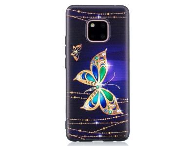 Силиконов гръб за Huawei Mate 20 Pro, Златиста пеперуда