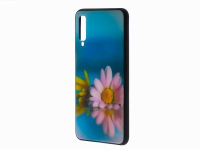Калъф Гръб Glass за Samsung Galaxy A7 2018 A750, Маргаритки