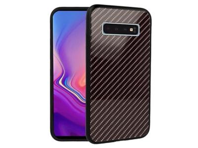Стъклен гръб със силиконова лайстна Glass за Samsung Galaxy S10 (G973) , Тъмно сив