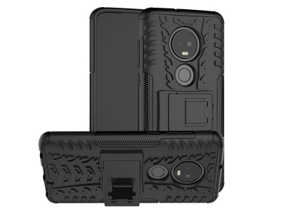 Удароустойчив гръб с поставка Hybrid за Motorola Moto G7 / G7 Plus, Черен