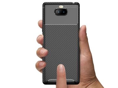 Силиконов гръб Carbon Fiber за Sony Xperia 10, Черен