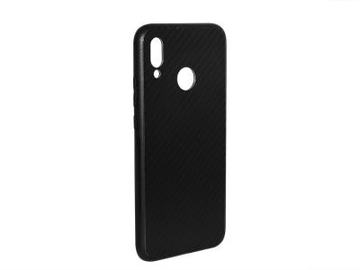 Стъклен гръб със силиконова лайстна Glass за Huawei P20 Lite , Черен