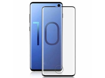 Стъклен Протектор Full Glue 5D за Samsung Galaxy S10 (пръстов отпечатък), Черен
