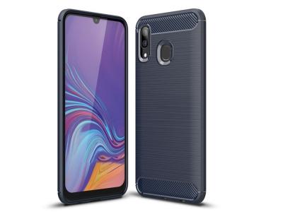 Силиконов гръб Carbon Fibre за Samsung Galaxy A30/ A20, Тъмно син