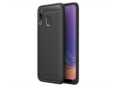 Силиконов гръб Carbon Fibre за Samsung Galaxy A30/ A20, Черен