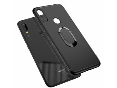 Силиконов Гръб с пръстен поставка за Xiaomi Redmi Note 7, Черен