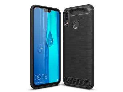 Силиконов гръб Carbon Fibre за Huawei Y9 2019, Черен