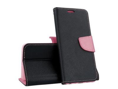 Калъф Тефтер Fancy за Samsung Galaxy A70, Черен/ Розов