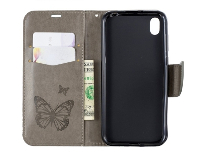 Калъф Тефтер за Huawei Y5 2019 / Honor 8S, Сив на пеперуди