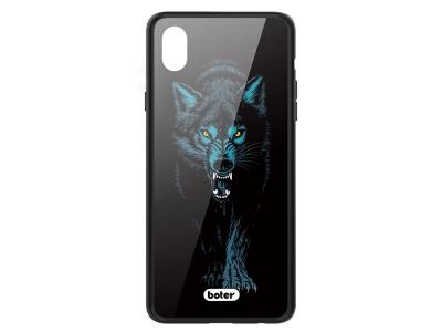 Пластмасов Гръб Glass Boter за iPhone XS Max, Вълк
