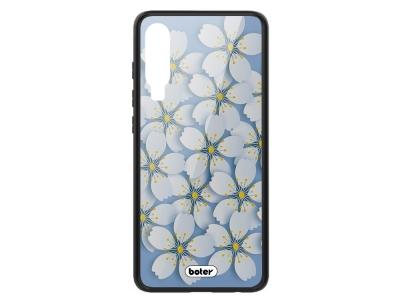 Пластмасов Гръб Glass Boter за Huawei P30, Бели цветя