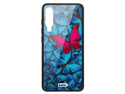 Пластмасов Гръб Glass Boter за Huawei P30, Розова Пеперуда