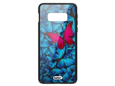 Пластмасов Гръб Glass Boter за Samsung Galaxy S10e, Розова Пеперуда