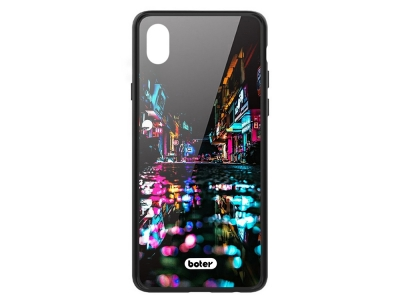 Пластмасов Гръб Glass Boter за iPhone X/ XS, Нощен град